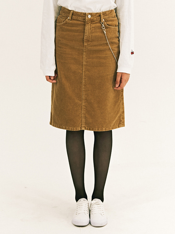 H-LINE MIDI SKIRT GA [BROWN]
