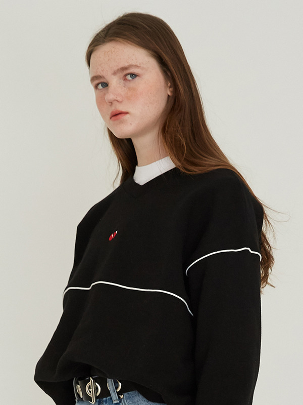 PIPING CHERRY SWEATSHIRT HS [BLACK]