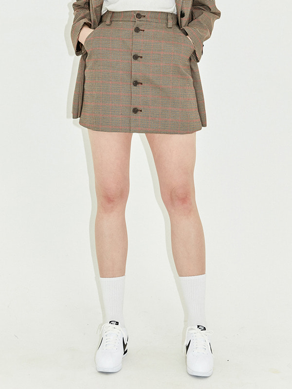 BUTTON SKIRT HS [BROWN]