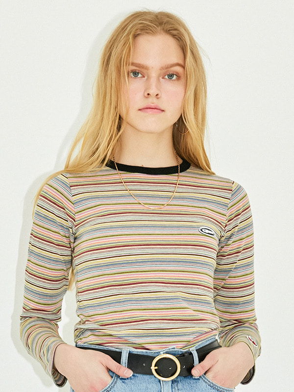 STRIPE FITTED T-SHIRT HS [RAINBOW]