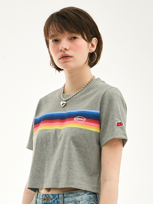 RAINBOW CROPPED T-SHIRT HS [GRAY]