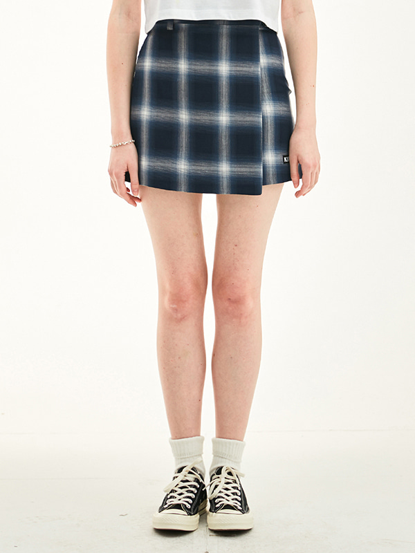 WLAP CHECK SKIRT HS [NAVY]