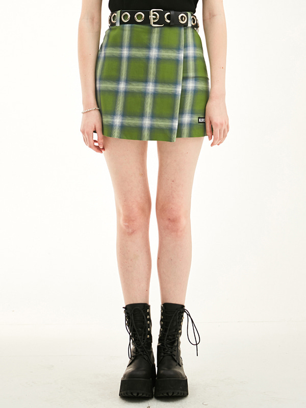 WLAP CHECK SKIRT HS [GREEN]