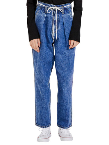 WIDE TAPERED DENIM PANTS HA [BLUE]