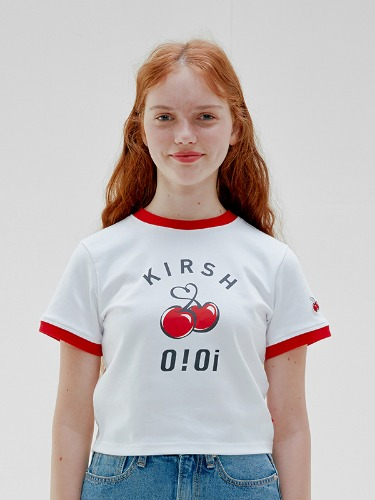 OIOI x KIRSH BIG LOGO CROP T-SHIRTS [WHITE]
