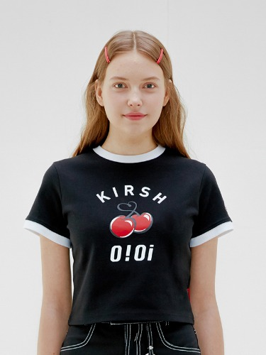 OIOI x KIRSH BIG LOGO CROP T-SHIRTS [BLACK]