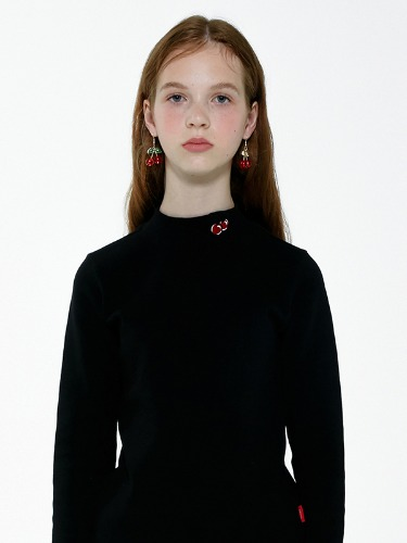 (8월26일 예약발송)SMALL CHERRY TURTLENECK IA [BLACK]