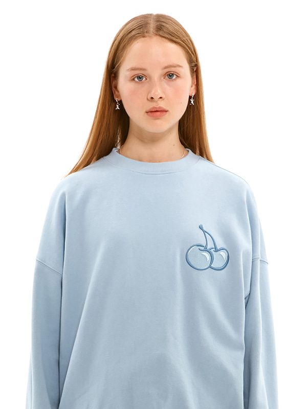 TONE ON TONE MIDDLE CHERRY SWEATSHIRT JS [LIGHT BLUE]