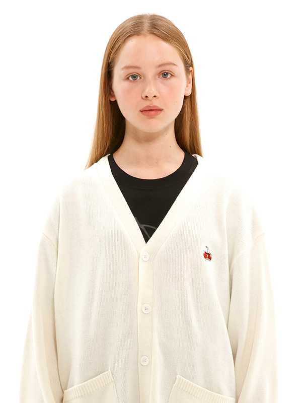 SMALL CHERRY V NECK CARDIGAN JS [IVORY]