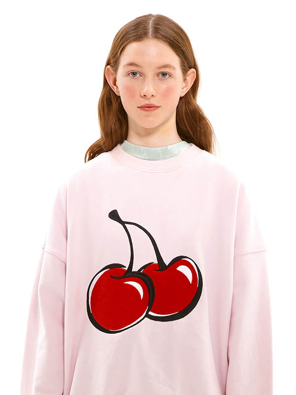 BIG CHERRY SWEATSHIRT JS [LIGHT PINK]