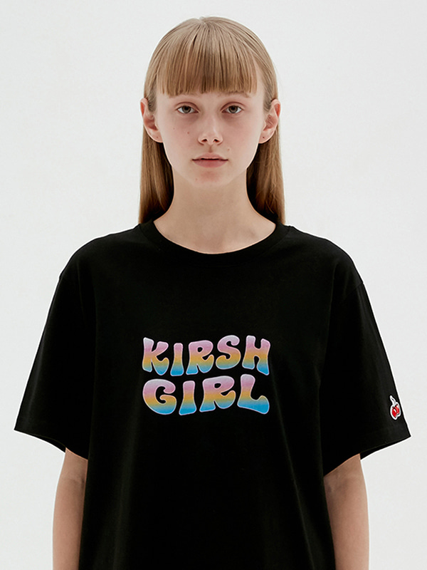 KIRSH GIRL GRADATION LOGO T-SHIRTS JS [BLACK]