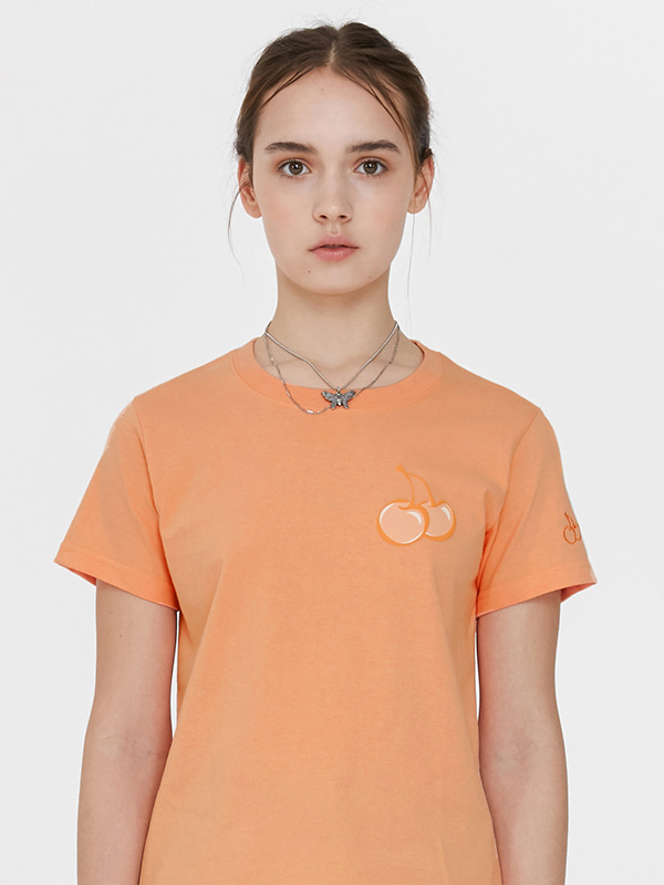 TONE ON TONE MIDDLE CHERRY T-SHIRT JH [ORANGE]