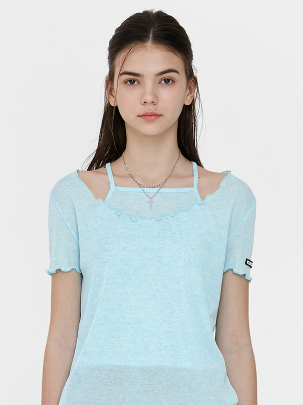 KIRSH WAVE STITCH U-NECK T-SHIRT JH [LIGHT BLUE]