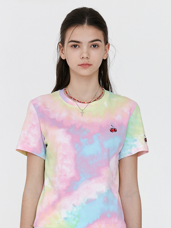 SMALL CHERRY LOLLYPOP TIE-DYE T-SHIRTS JH [RAINBOW]