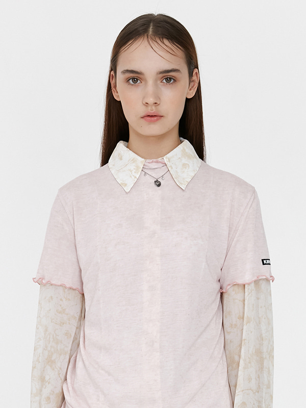 KIRSH WAVE STITCH HALF-NECK T-SHIRT JH [LIGHT PINK]