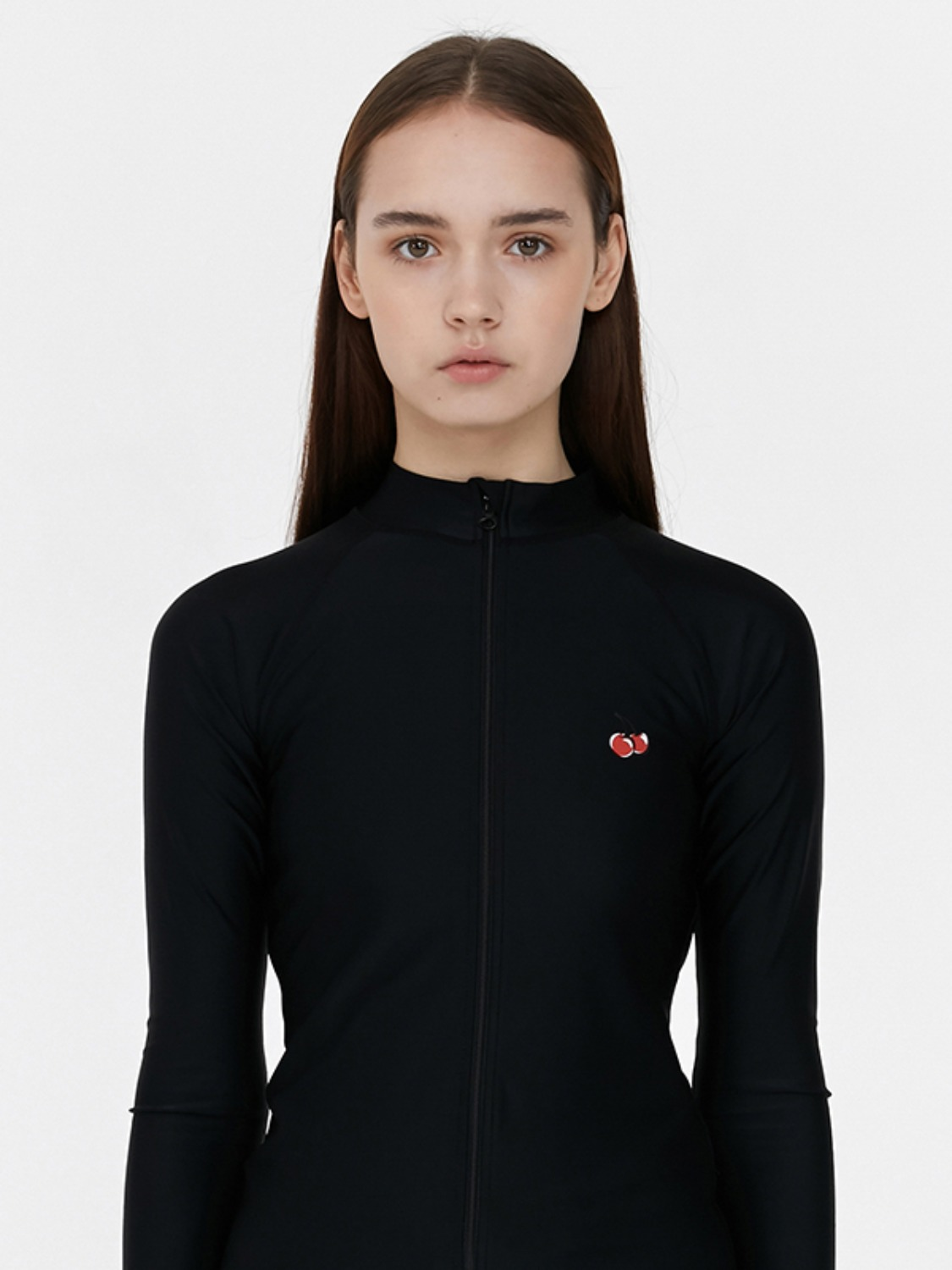 CHERRY RASHGUARD ZIP UP JH [BLACK]