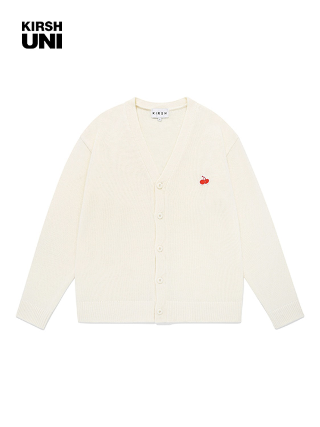 UNI SMALL CHERRY V NECK CARDIGAN JA [CREAM]