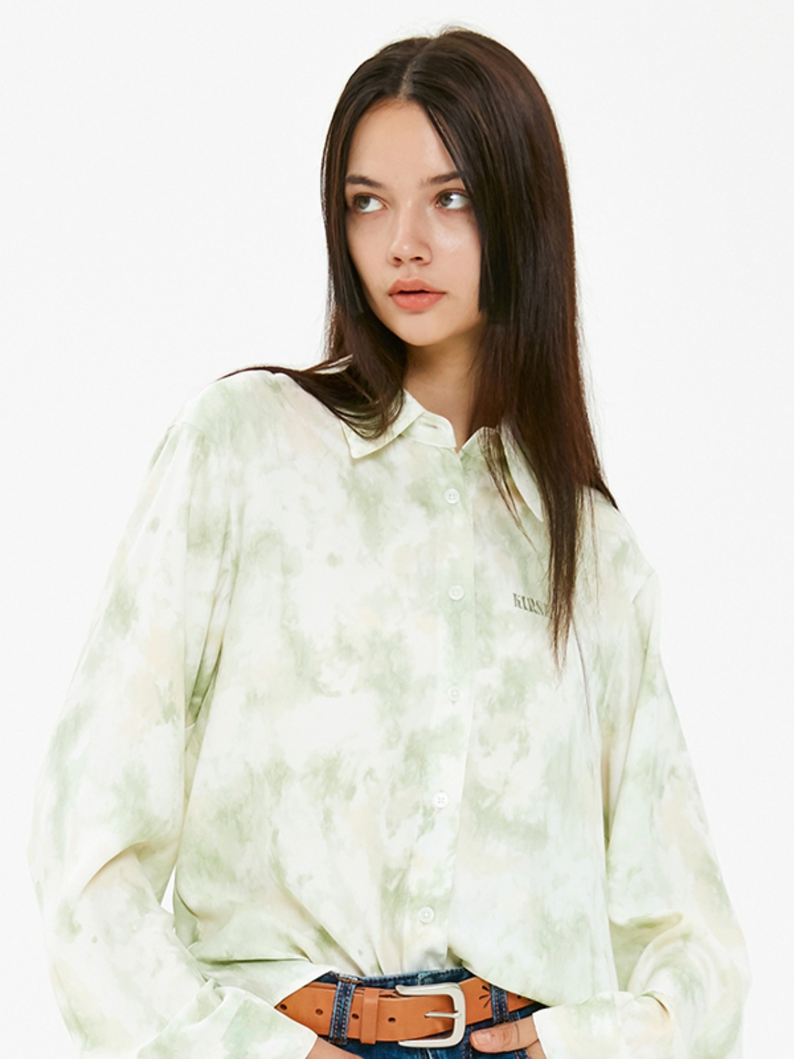MARBLE SILKY SHIRT JA [LIGHT GREEN]