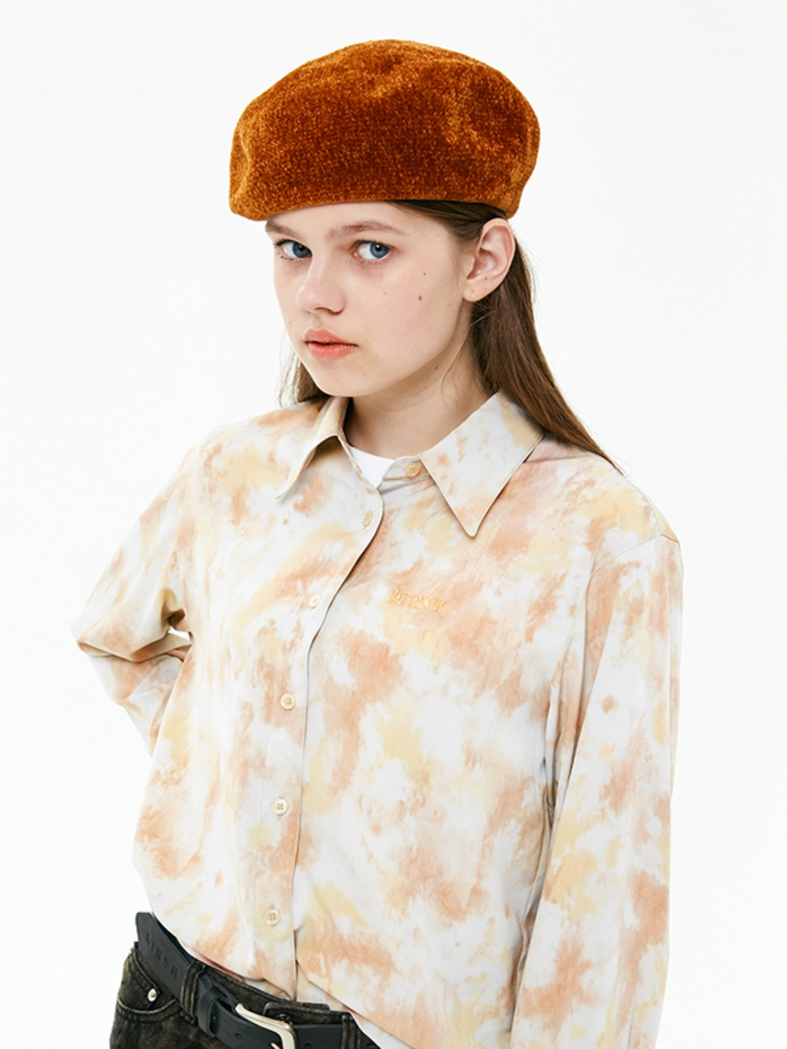MARBLE SILKY SHIRT JA [LIGHT ORANGE]