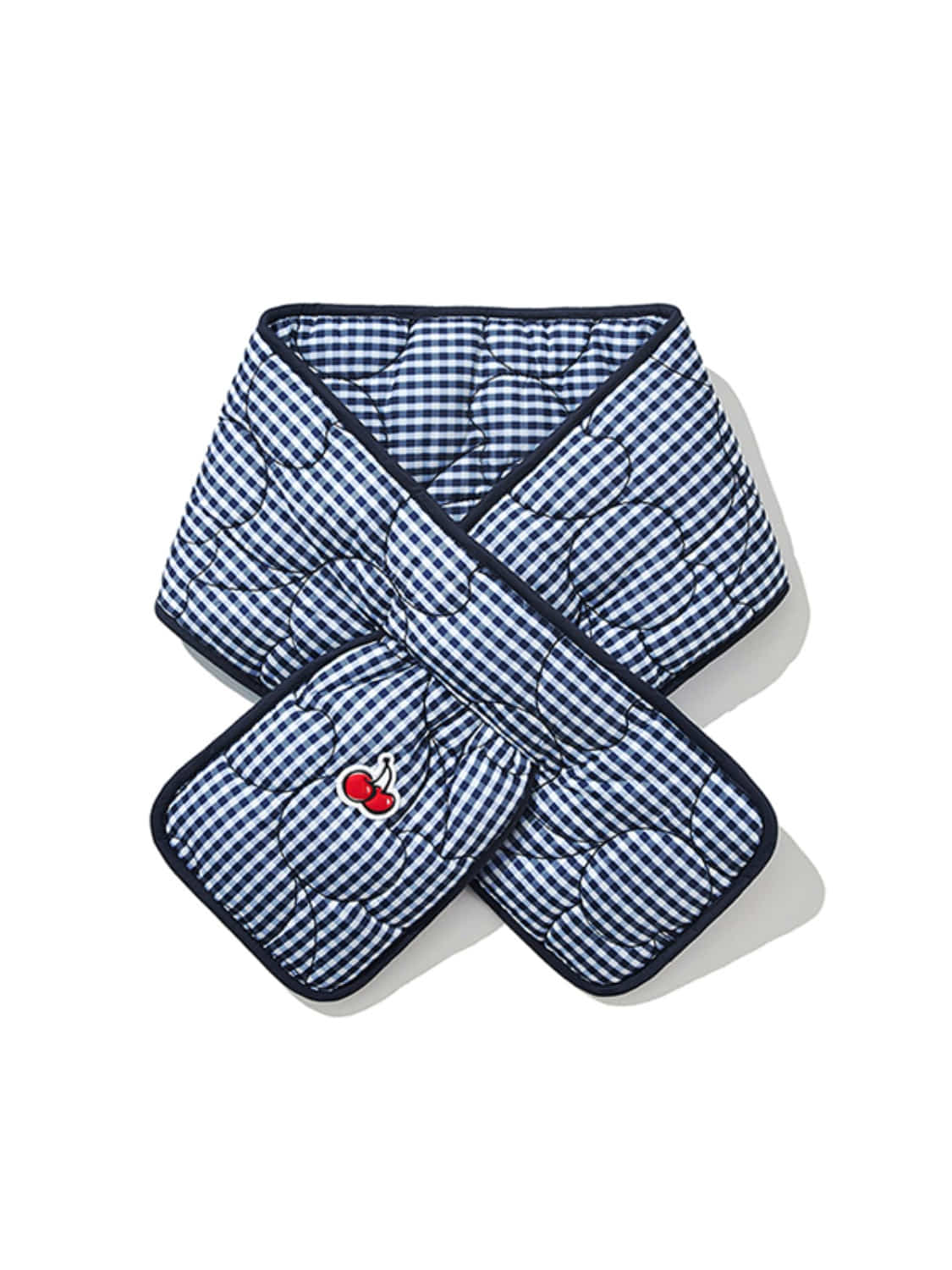 CHERRY GINGHAM CHECK QUILTING MUFFLER JA [NAVY]