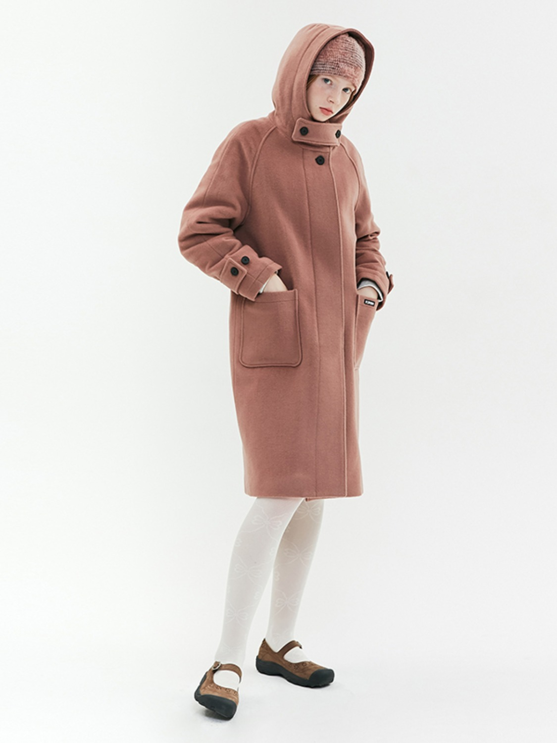 HOOD WOOL LONG COAT JA [CORAL PINK]