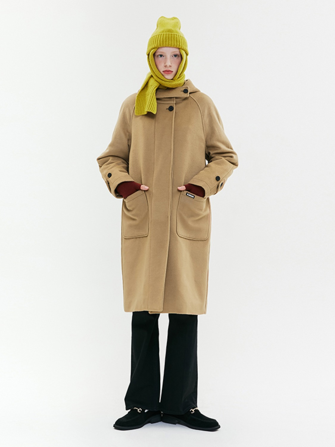 HOOD WOOL LONG COAT JA [BEIGE]