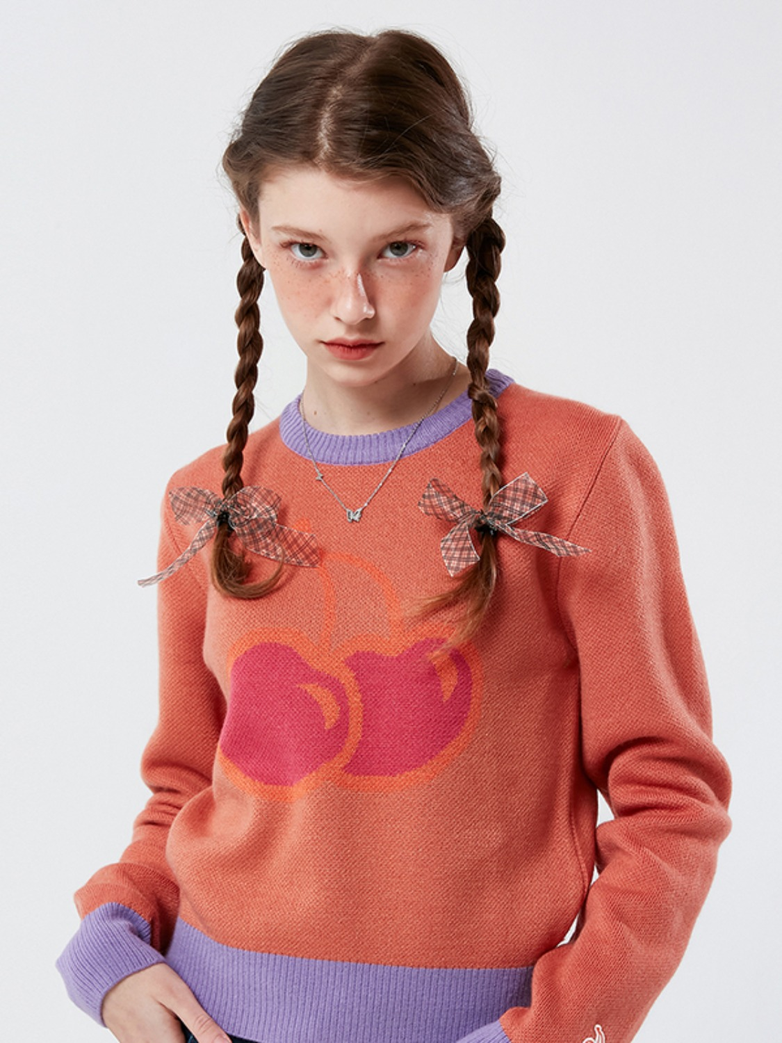 BIG CHERRY JACQUARD KNIT KS [CORAL]