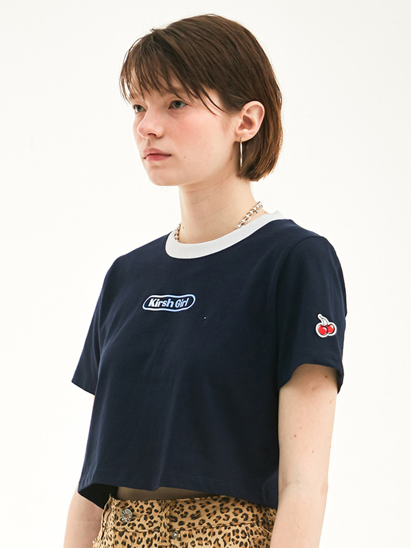 KIRSH GIRL CROPPED T-SHIRT HS [NAVY]