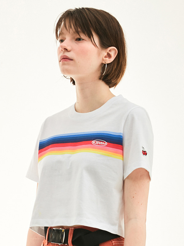 RAINBOW CROPPED T-SHIRT HS [WHITE]