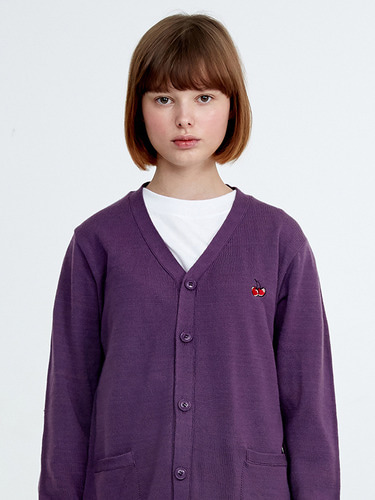 CHERRY KNIT CARDIGAN HA [PURPLE]