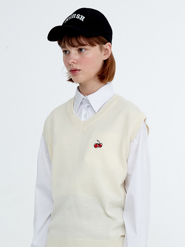CHERRY KNIT VEST HA [IVORY]