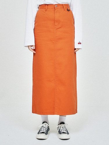 (10월 5일 예약배송)POCKET LONG SKIRT HA [ORANGE]