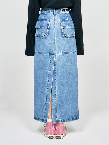 (10월 5일 예약배송)POCKET LONG SKIRT HA [BLUE]