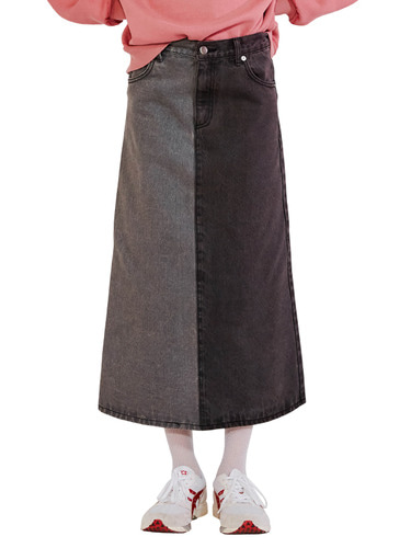 UNBALANCE DENIM SKIRT HA [BLACK]
