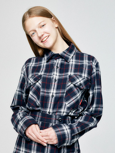 DOUBLE POCKET  CHECK SHIRT HA  [NAVY]