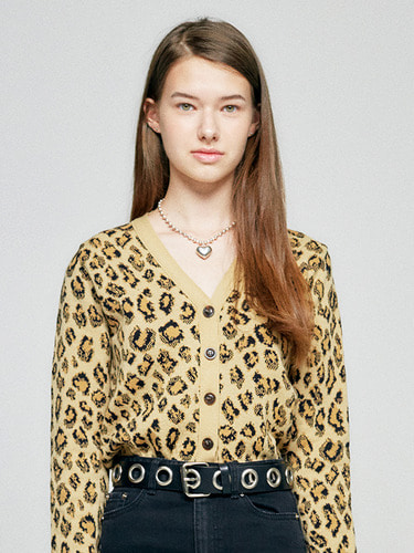 (10월 5일 예약배송)FITTED CARDIGAN HA  [LEOPARD]