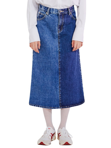 UNBALANCE DENIM SKIRT HA [BLUE]
