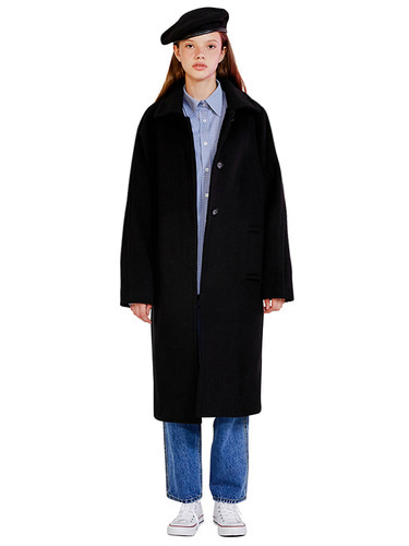 RAGLAN WOOL COAT HA [BLACK]