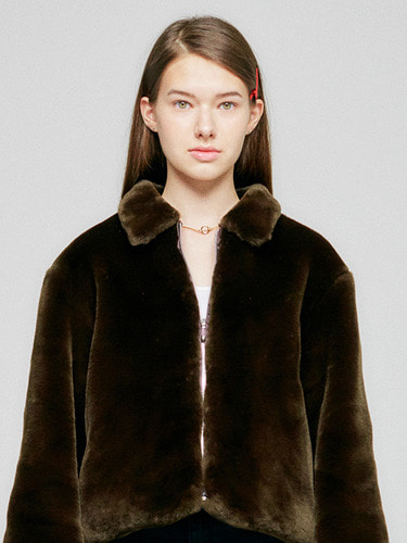 FUR JACKET HA [BROWN]