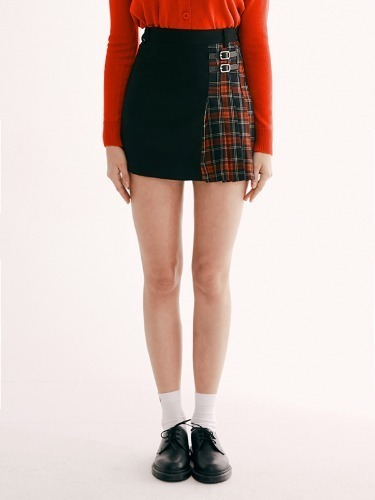 X-MAS CHECK HALF SKIRT HA [RED]