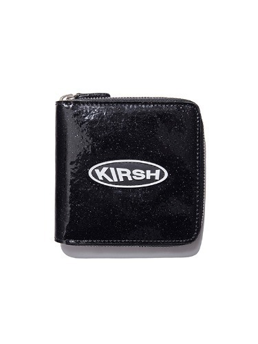 KIRSH POCKET  CIRCLE LOGO GLITTER HALF  WALLET  IS [BLACK]