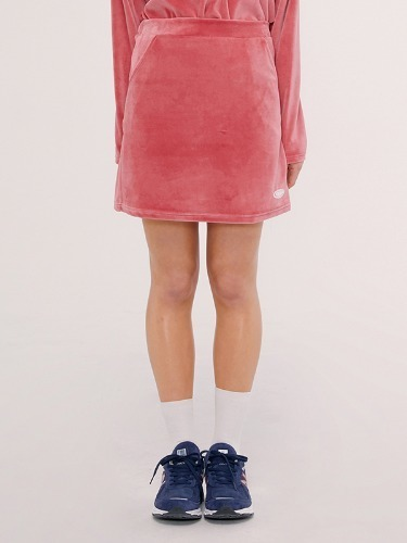 VELOUR SKIRT IS [PINK]