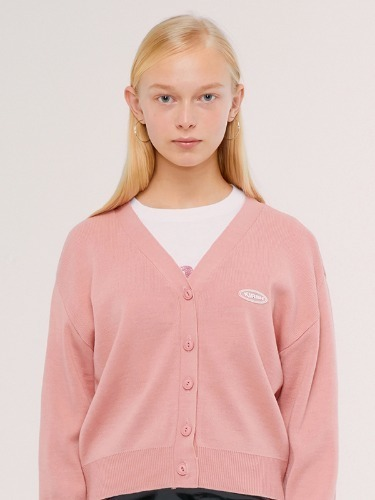 KNIT SLIM CARDIGAN IS [PINK]