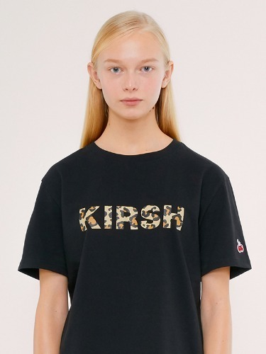 KIRSH LEOPARD LOGO T-SHIRT IS [BLACK]