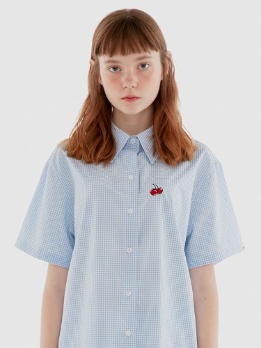 GINGHAM CHECK SHIRTS IH [BLUE]