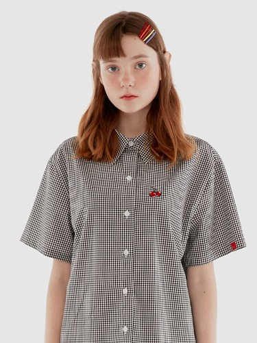 GINGHAM CHECK SHIRTS IH [BLACK]