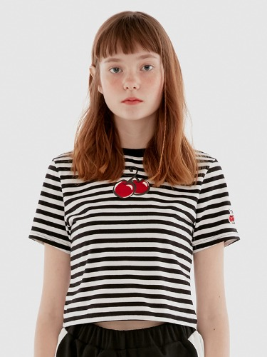 HEART CHERRY CROPPED T-SHIRT IH [STRIPE]