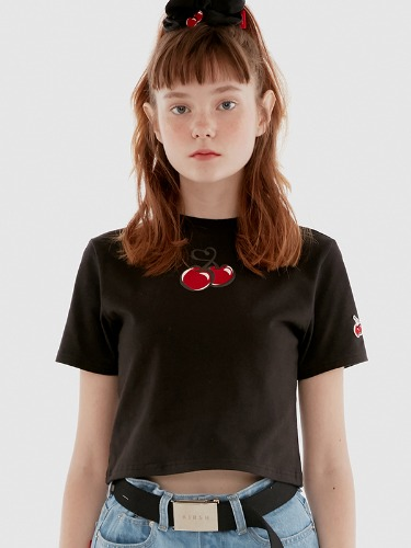 HEART CHERRY CROPPED T-SHIRT IH [BLACK]
