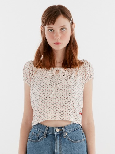CHERRY PATTERN SHIRRING TEE IH [WHITE]
