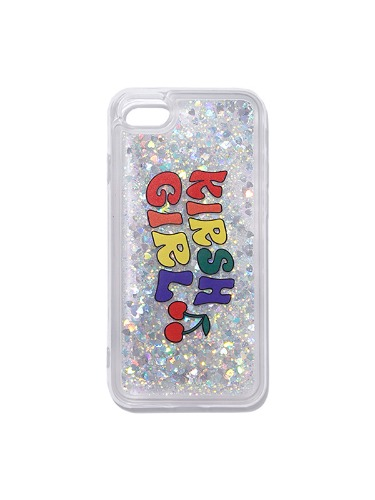 GLITTER RAINBOW PHONE CASE IH [WHITE]